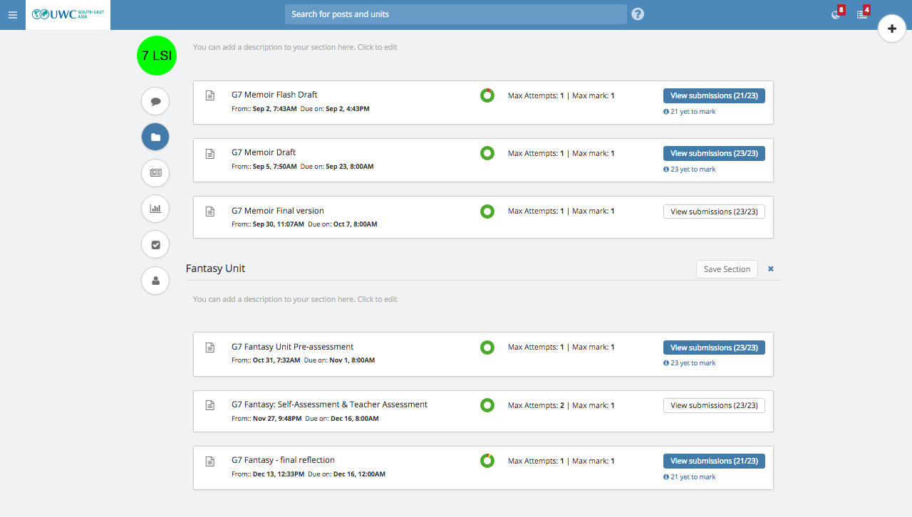 LMS Formative Assignments View
