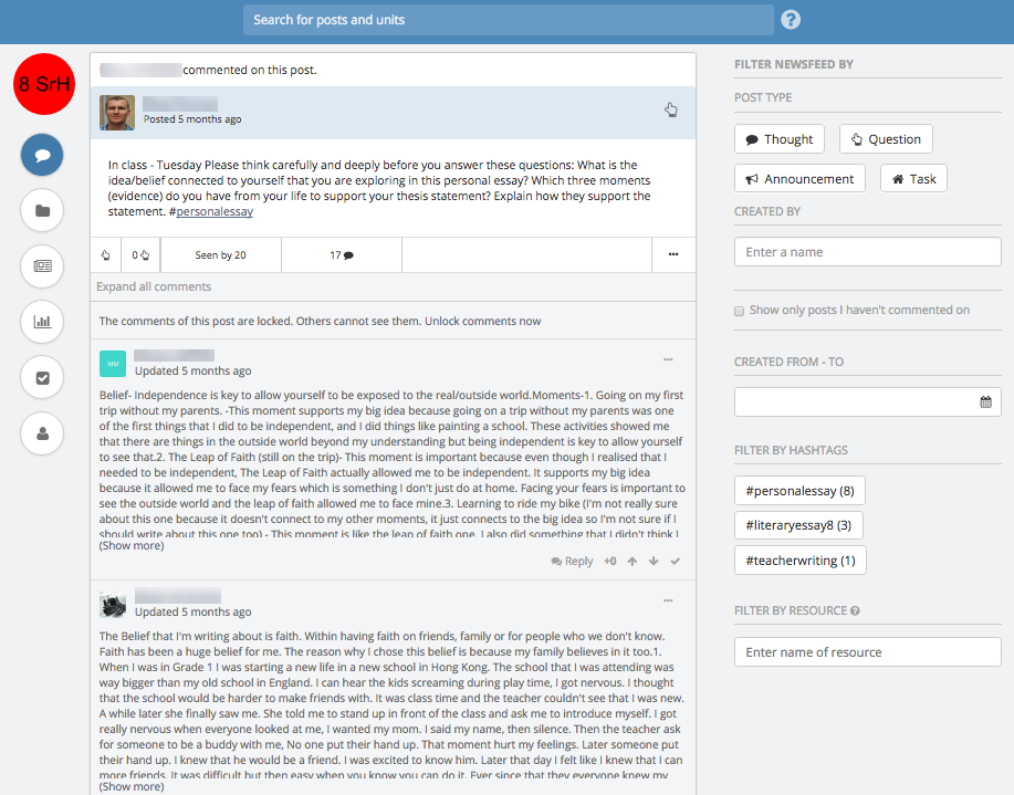 Teamie LMS Collaborative Newsfeed